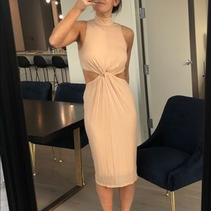 Kendall Kylie Nude Mock Neck Dress with Cut Out